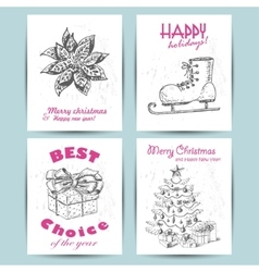 New Year greeting card with skates star gift and vector