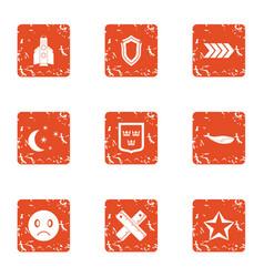 Nighttime icons set grunge style vector