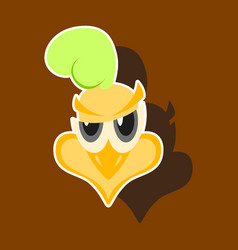 Paper sticker on theme evil animal hen vector