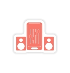 paper sticker on white background mobile phone vector image