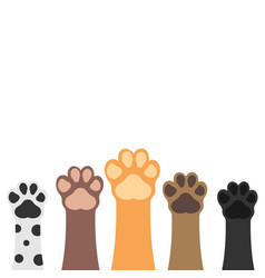 Paws up pets set isolated on white background vector
