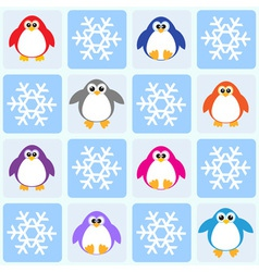 Penguins and snowflakes vector