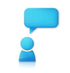 Person with speech bubble Blue icon vector