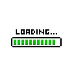 pixel art 8bit loading green bar on white back vector image