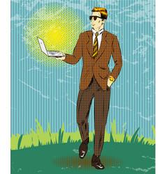 pop art businessman holding vector image