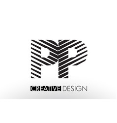 Pp p lines letter design with creative elegant vector
