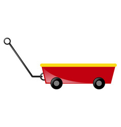 Red wagon with handle vector