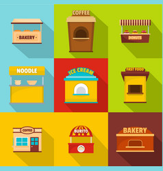 Refreshment room icons set flat style vector