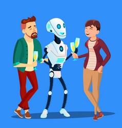 Robot drinking champagne and laughing at party vector