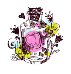 Romantic love potion heart of an elixi vector
