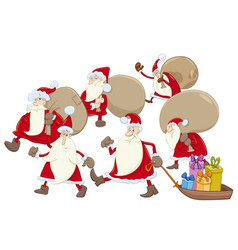 santa claus group cartoon vector image