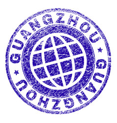 Scratched textured guangzhou stamp seal vector