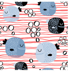 Seamless childish pattern with funny fishcreative vector