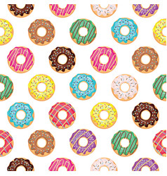 Seamless pattern with glazed donuts vector