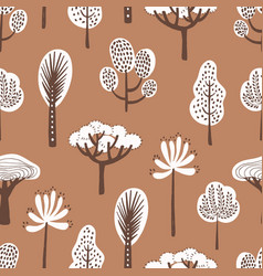 Seamless pattern with various hand drawn trees on vector