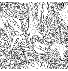 seamless patterns with abstract waves and leaves vector image