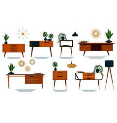 Set midcentury modern furniture with plants vector