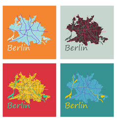 Set of flat berlin city map with boroughs vector