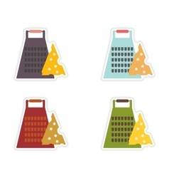 Set of paper stickers on white background Grater vector