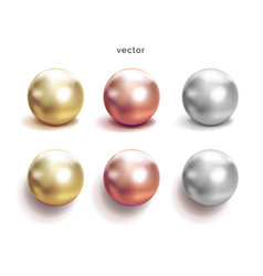 set pearl silver pink or rose gold and gold vector image