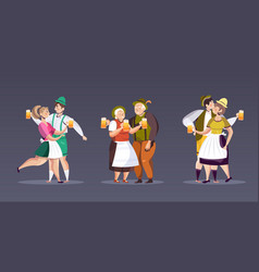 Set people in traditional clothes drinking beer vector