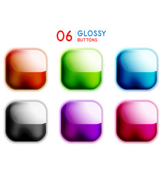 set web shiny square buttons glass style vector image