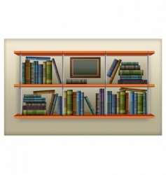 Shelf with books vector