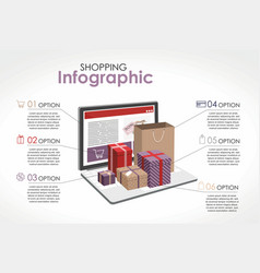 shopping infographic gifts open laptop vector image