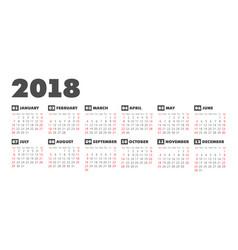 Simple 2018 year calendar vector