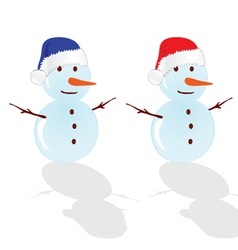 Snowman with red hat vector