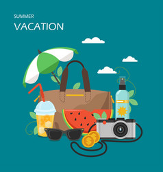 summer vacation flat style design vector image