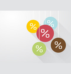 symbol percent discounts with long shadows vector image