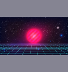 Synthwave sunset background retro futuristic pink vector