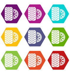 tire icons set 9 vector image