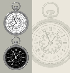 Vintage watch and clock face vector image