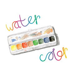 Watercolors and paintbox rainbow watercolor vector