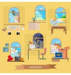 Window set of flat design vector image