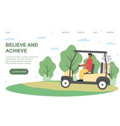 young man riding golf cart vector image