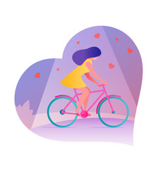 young woman riding bicycles for vector image