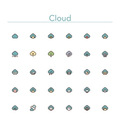 Cloud Colored Line Icons vector image vector image