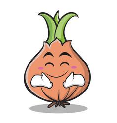 happy face onion character cartoon vector image vector image