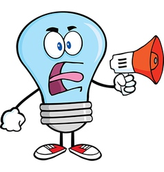 Light bulb yelling into microphone vector image vector image