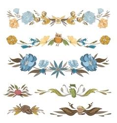 Vintage Floral Vignettes Set vector image vector image