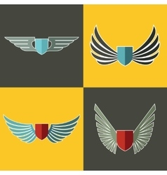 Wings logo for company on yellow and brown vector image vector image