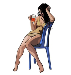 beautiful girl with a glass sitting on a chair vector image vector image