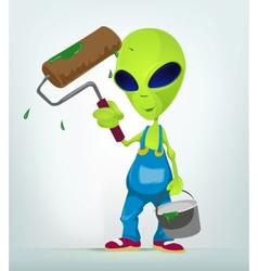 Cartoon Painter Alien vector image vector image