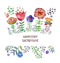 composition with pretty watercolor flowers vector image vector image