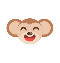 cute monkey face animal cheerful vector image