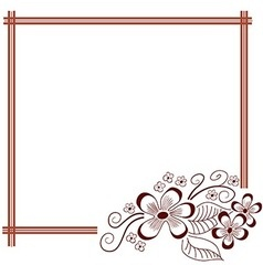 Floral hand drawn frame Greeting invitation card vector image