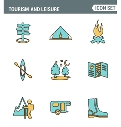 Icons line set premium quality of outdoor vector image vector image